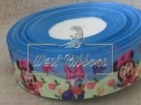 Репс 2.5 см Минни и Дейзи, на салатово-голубом