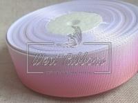 Репс 2.5 см Градиент, пудрово-розово-белый