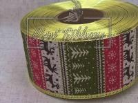 Лента новогодняя 6.3 см, елочки-олени, оливково-красная (мешковина) TV