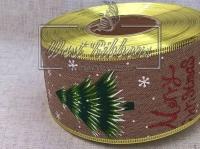 Лента новогодняя 6.3 см Елочка-Merry Ghristmas, на мешковине TV