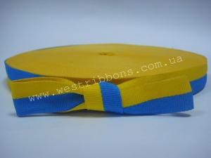 Лента тканевая 1.5 см UA, желто-голубая